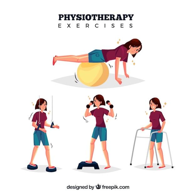 Various rehabilitation exercises Free Vector