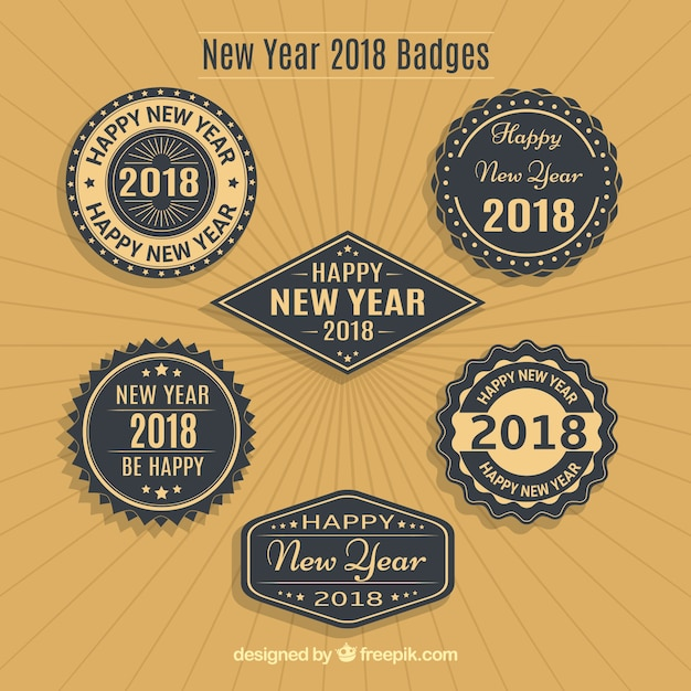 Various retro badges of new year 2018