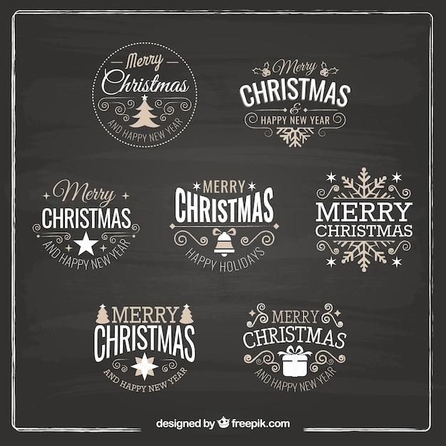 Various retro decorative christmas stickers Free Vector