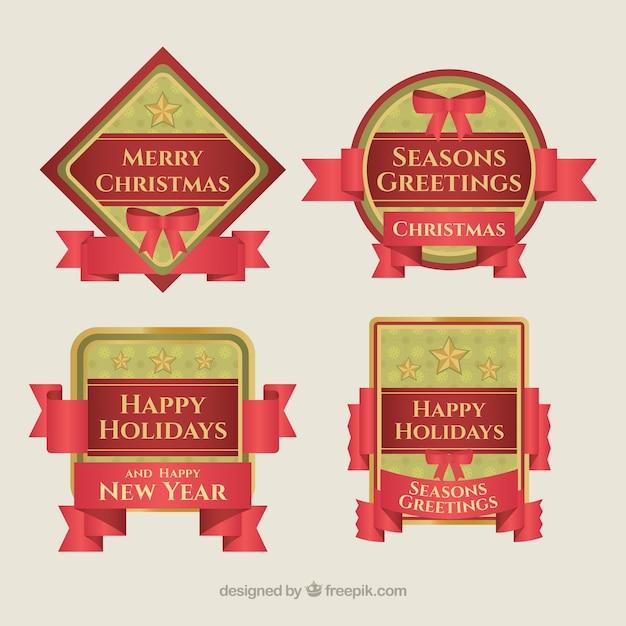 Various retro merry christmas badges