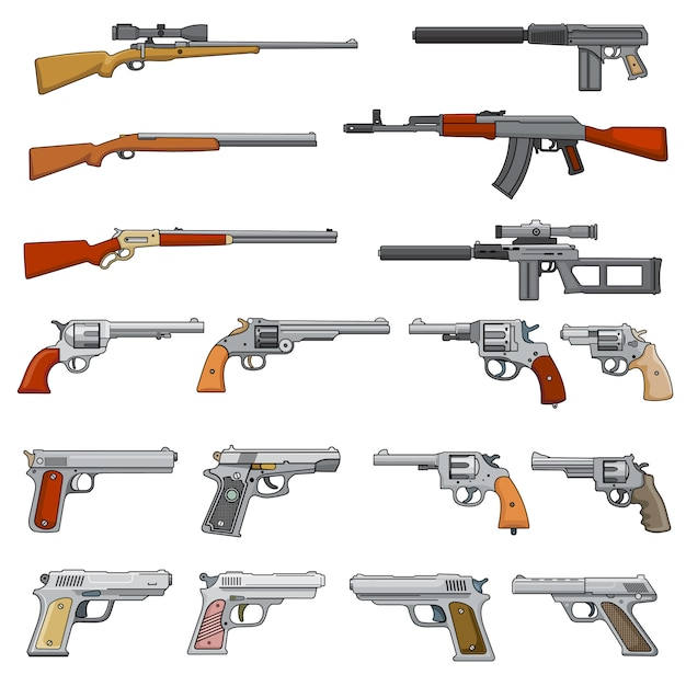 Various rifle, guns and pistols cartoon vector weapons icons Premium Vector