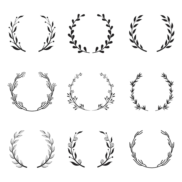 Various round floral and laurel frames set Free Vector