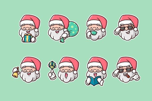 Various santa head expression sticker pack Premium Vector
