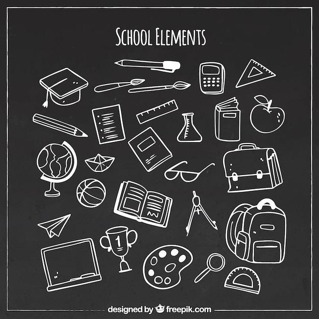 Various school elements in blackboard style Free Vector