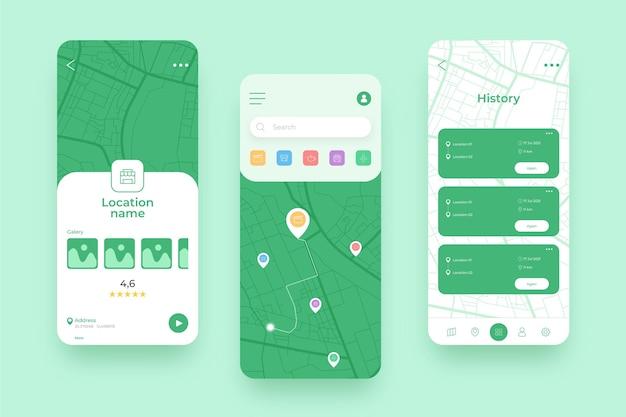 グリーンロケーションモバイルアプリのさまざまな画面 無料ベクター