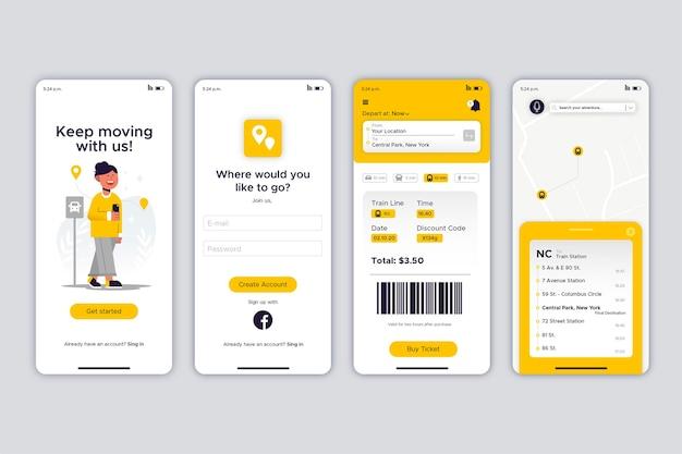 黄色の公共交通機関のモバイルアプリのさまざまな画面 無料ベクター