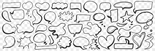 Various shapes of chat bubble doodle set. collection of hand drawn message communication chat bubbles in shapes of heart cloud and others isolated Premium Vector