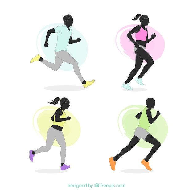 Various silhouettes of runners Free Vector