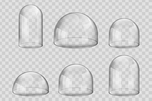 Стеклянные купола или колокольчики различных размеров и сферической формы. Premium векторы