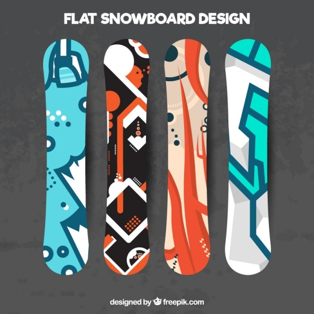 Various snowboard in modern design