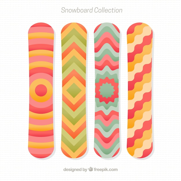 Various snowboards with abstract shapes