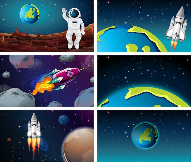 Various space scenes with earth Free Vector