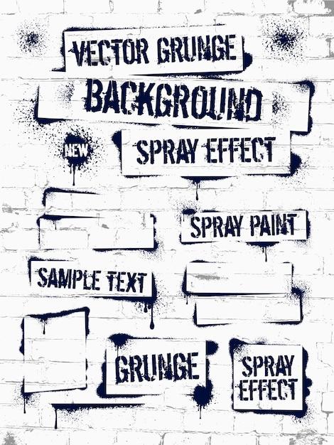 Various spray paint graffiti on brick wall Premium Vector