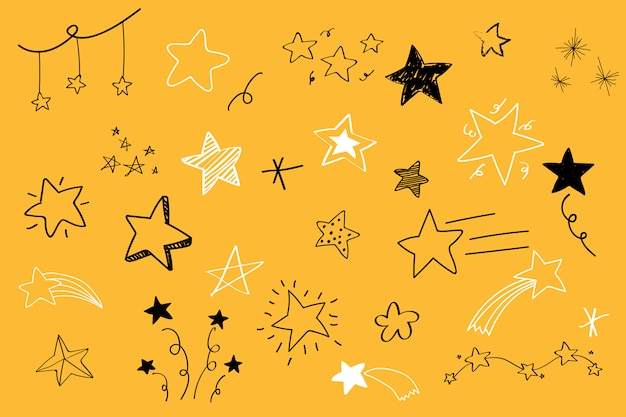 Various stars doodle collection vector Free Vector