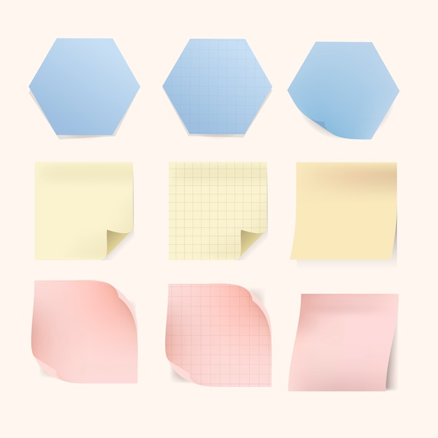 Various sticky notes set Free Vector