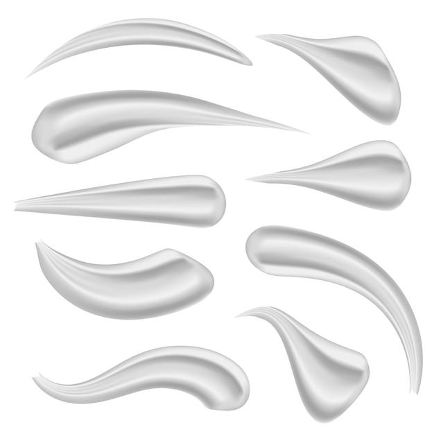 Various strokes beauty face cosmetic, white cream. Premium Vector