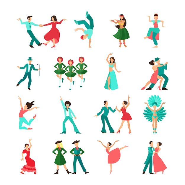 Various style dancing men solo Premium Vector