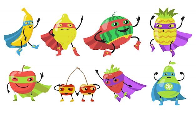 Набор иконок различных фруктов супергероя Бесплатные векторы