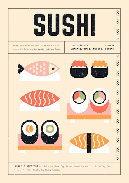 Various sushi geometric print template poster Free Vector