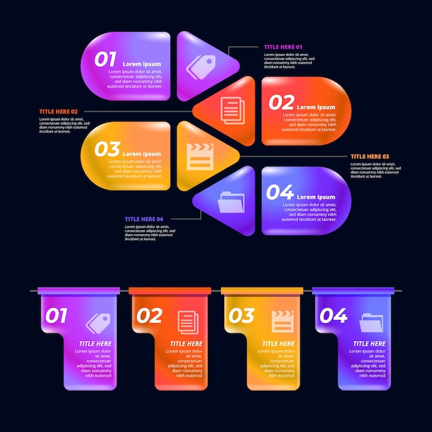 Various text boxes of glossy infographic elements Free Vector