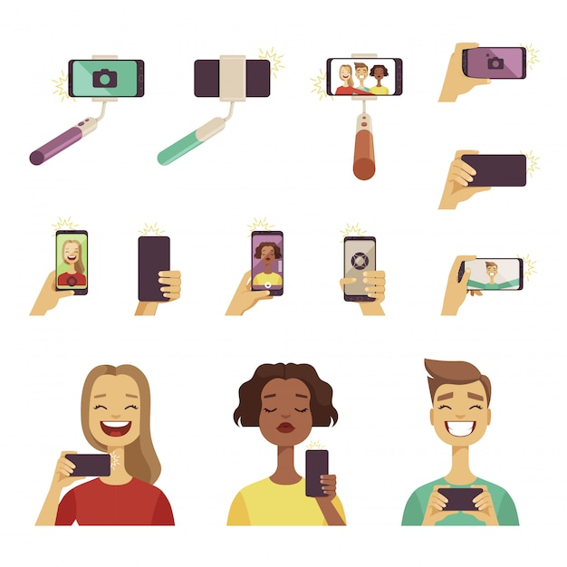 Various tools and accessories for self photos at smartphone Premium Vector