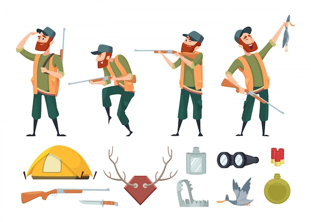 Various tools for duck hunters Premium Vector