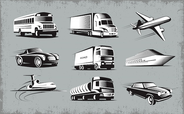 Various transport modes symbol set Free Vector