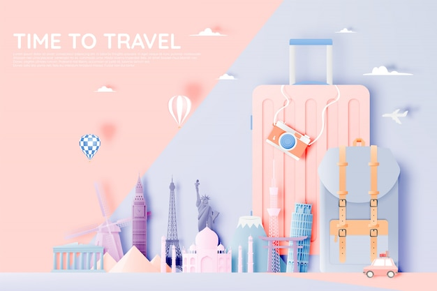 Various travel attractions in paper art style Premium Vector