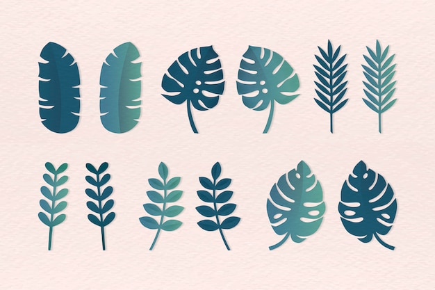 Various tropical leaves set Free Vector