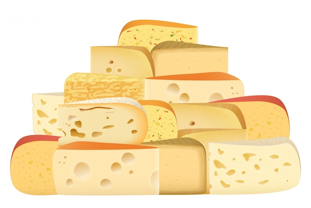 Various types of cheese together Premium Vector