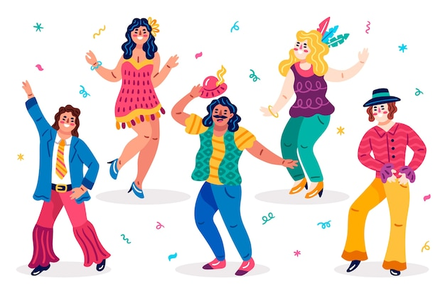 Various types of clothes carnival dancers Free Vector