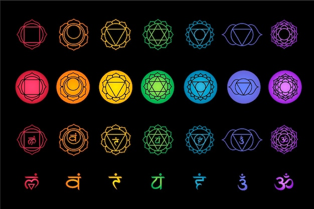 Various types of colourful ofchakras set Free Vector
