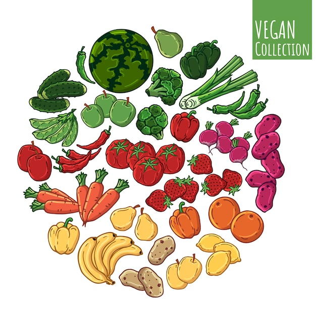 Various types of fresh vegetables and fruits. Premium Vector