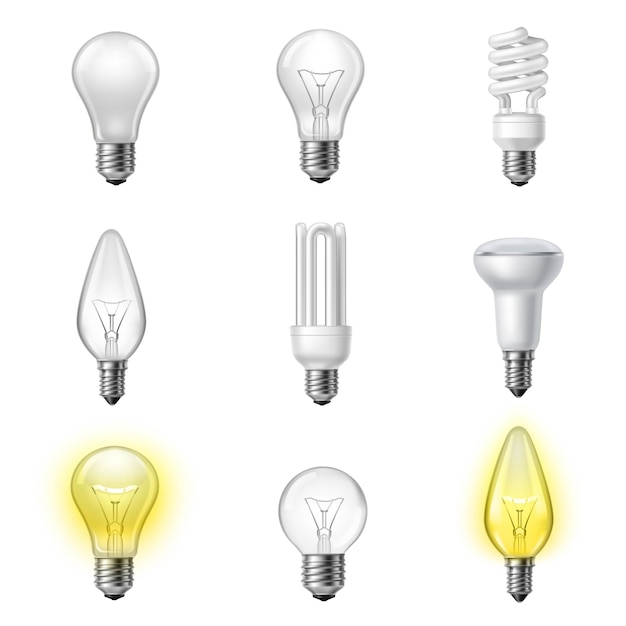 Various types realistic lightbulbs set Free Vector