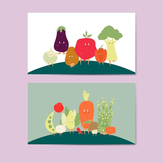 Various vegetable cartoon characters vector set Free Vector