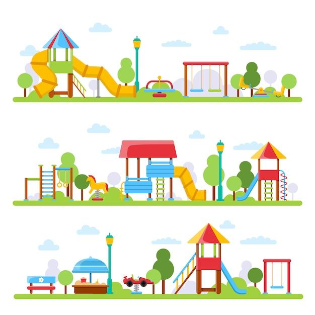 Various views of children playground in urban park Premium Vector