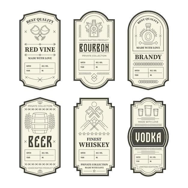 Различные старинные этикетки бутылки алкоголя Бесплатные векторы