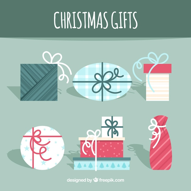 Various vintage christmas gifts in flat design
