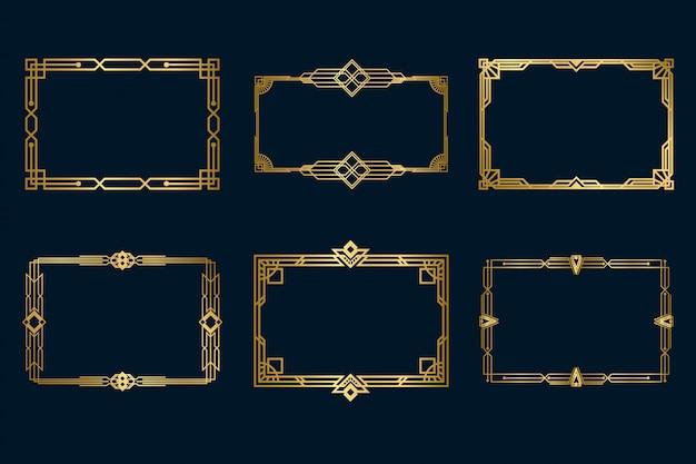 Различные старинные золотые рамки установлены Бесплатные векторы