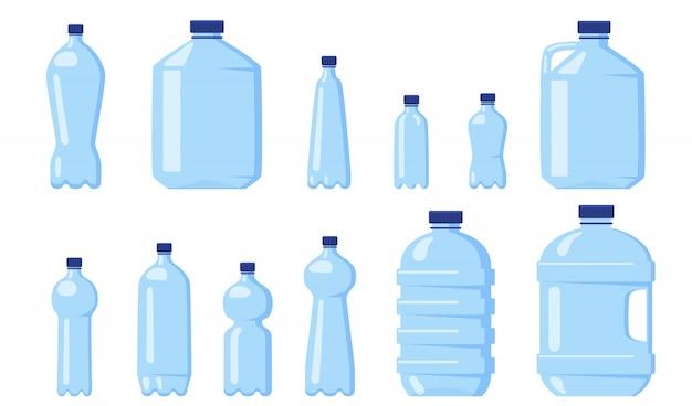Various water plastic bottles Free Vector
