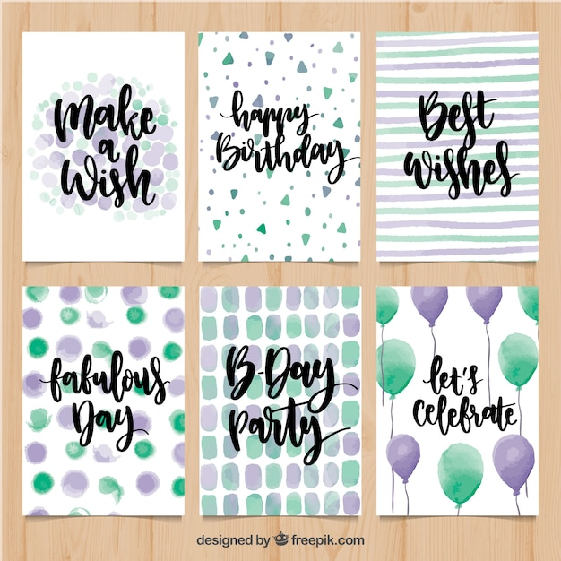 Various watercolor abstract birthday cards