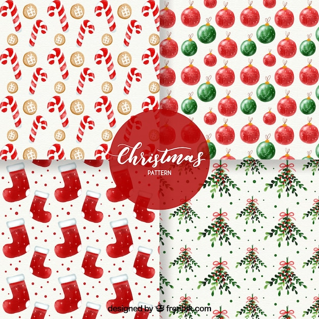 Various watercolor christmas patterns