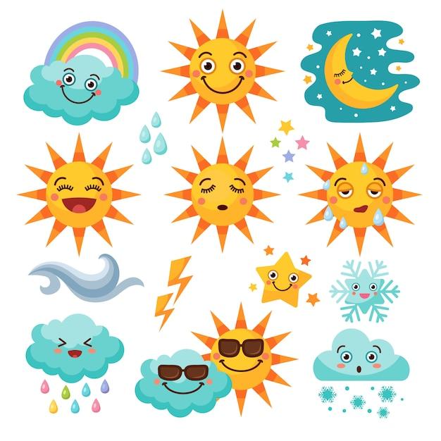 Various weather icon set Premium Vector