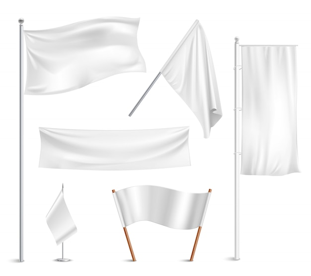 Various white flags and banners pictograms collection Free Vector