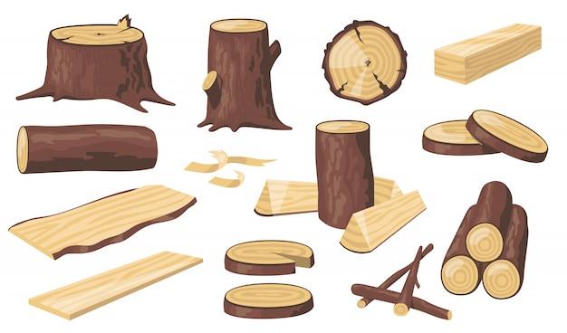 Различные деревянные бревна и стволы Бесплатные векторы