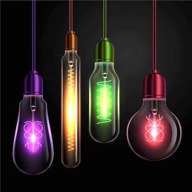 Varoius shapes of coloured light bulbs Free Vector