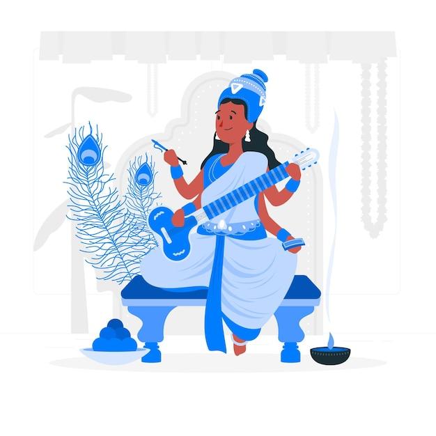 Vasant panchami festivalconcept illustration Free Vector