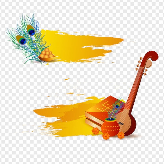 Vasant panchami festival elements on transparent background. Premium Vector