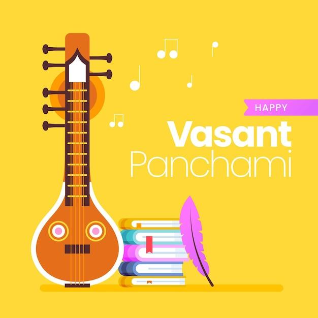 Vasant panchami design piatto chitarra e libri Vettore gratuito
