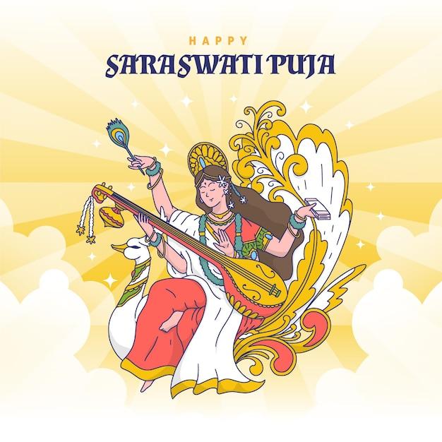 Vasant panchami 행복한 saraswati puja 무료 벡터